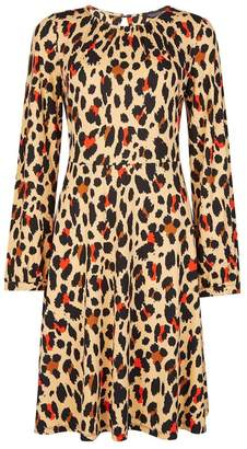 Next Womens Dorothy Perkins Animal Pleat Neck Fit Flared Dress