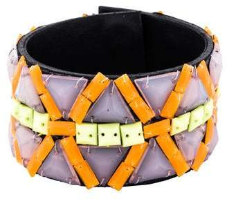 Andrew Gn Beaded Leather Wrap Bracelet