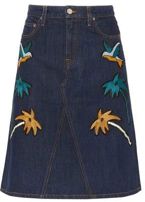 Victoria Victoria Beckham Embroidered Denim Skirt