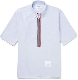 Thom Browne Button-Down Collar Cotton Oxford Half-Zip Shirt