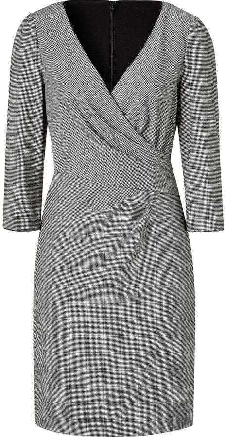DKNY Black Houndstooth Check Wrapped Dress