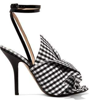 N°21 N° 21 Leather-Trimmed Knotted Gingham Canvas Sandals