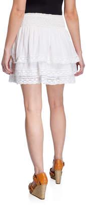 Chelsea & Theodore Smocked Waist Crochet Lace Tiered Mini Skirt