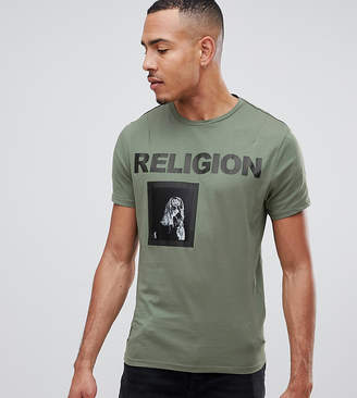 Religion muscle fit t-shirt in green with patch print