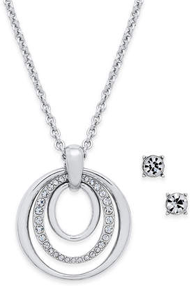 Charter Club Pave Pendant Necklace & Crystal Stud Earrings Set, Created for Macy's