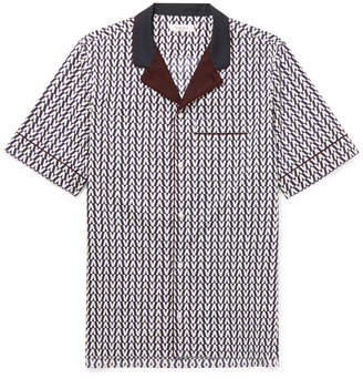 Valentino Camp-Collar Printed Cotton-Poplin Shirt - Men - Navy