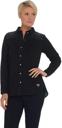 Factory Quacker DreamJeannes Embellished Button Front Top