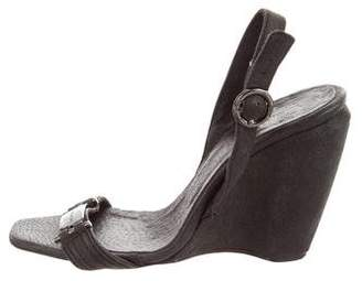 CNC Costume National Suede Logo Wedges