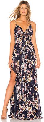 Nicholas Garden Rose Tie Front Maxi Dress