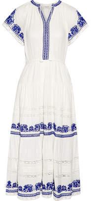 Sea Crochet-trimmed Embroidered Cotton-gauze Midi Dress - Ivory