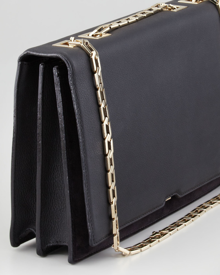 Victoria Beckham Hexagonal-Chain Shoulder Bag, Black