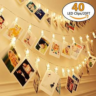 20Ft Battery Operated Indoor and Outdoor String Lights| with 40 LED Warm White Photo Clips| to Hang Cards