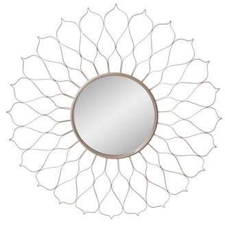 "Patton Wall Decor 38"" Silver Round Flower Petal Sunburst Wall Accent Mirror"