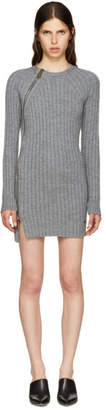 DSQUARED2 Grey Wool Zip Sweater Dress