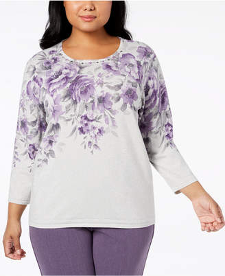 Alfred Dunner Plus Size Embellished Floral-Print Sweater