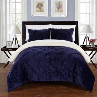 7-Piece Luxury Comforter Set in Navy Pinch Pleated Ruffled and Pin Tuck Sherpa Lined, King