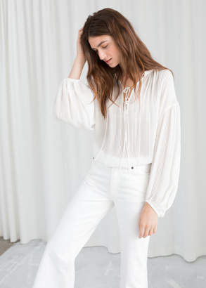Sheer Stripe Tie Blouse