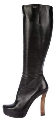 Gianmarco Lorenzi Leather Knee-High Boots