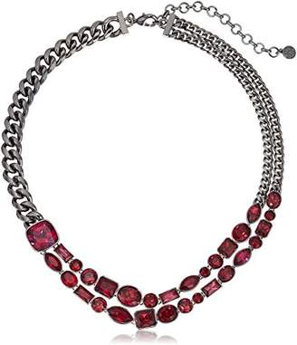 Nicole Miller Mixed Cushion Collar Black Rhodium/Fuchsia and Ruby Necklace