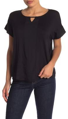Bobeau Short Sleeve Mixed Media Keyhole Top (Regular & Petite)