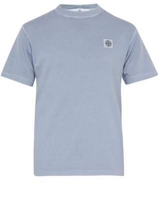 Stone Island Logo Patch Cotton T Shirt - Mens - Light Purple