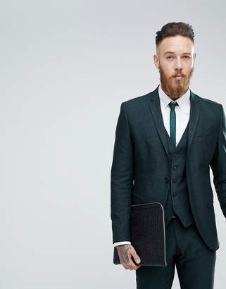 Selected Skinny Suit Jacket In Forest Green