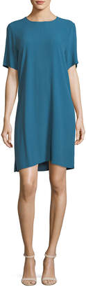 Eileen Fisher Crinkle Crepe Round-Neck Short-Sleeve Dress, Plus Size