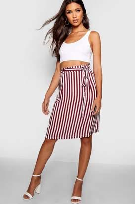boohoo Tie Waist Pocket Woven Stripe Midi Skirt
