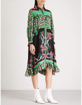 Sandro Floral-print silk-crepe dress