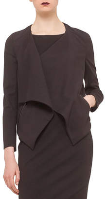 Akris Punto Long-Sleeve Draped-Front Jacket, Black