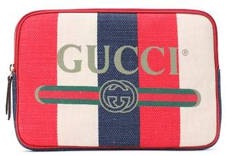 Gucci Striped linen pouch