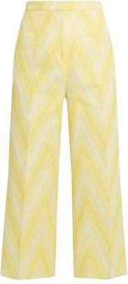 Rochas Chevron Jacquard Cotton Blend Culottes - Womens - Yellow White