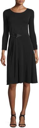 Armani Collezioni Long-Sleeve Gathered-Waist Dress, Black
