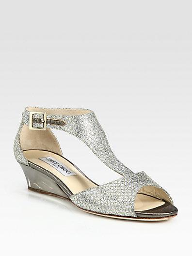 Jimmy Choo Treat Glitter T-Strap Wedge Sandals