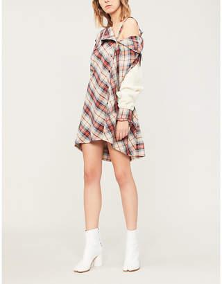 Ambush Cold-shoulder cotton-flannel and wool-blend dress