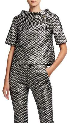 Trina Turk Saya Metallic Wave Striped Collared Short-Sleeve Top