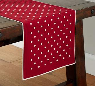 Pottery Barn Polka Dot Embroidered Table Runner