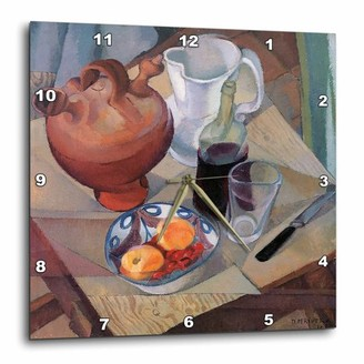 3dRose Still Life by Diego Maria Rivera Bowl of Fruit and Wine Bottle with Glass, Wall Clock, 15 by 15-inch