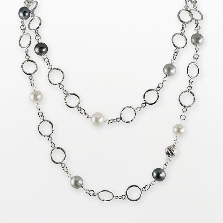Sterling silver dyed freshwater cultured pearl circle-link necklace