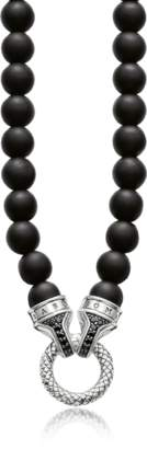 Blackened Sterling Silver and Obsidian Beads Men's Necklace w/Black Zirconia