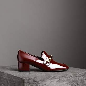Burberry Link Detail Patent Leather Block-heel Loafers , Size: 38, Red