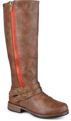 Brinley Co. Womens Wide-Calf Knee-High Side-Zipper Buckle Riding Boot