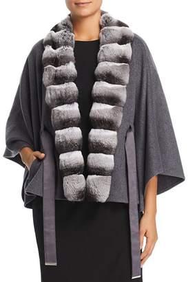 Maximilian Furs Chinchilla Fur Trim Cashmere Cape - 100% Exclusive