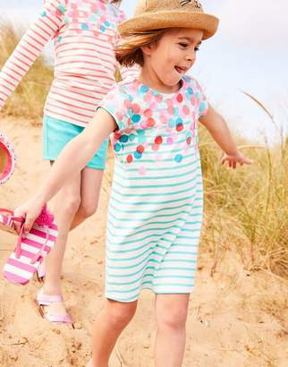 9272546fcad0 Joules Turquoise Spot Cascade Riviera Luxe Short Sleeve Dress 3-12 Yr Size  9Yr-