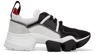 Givenchy Jaw Mesh And Suede-trimmed Leather, Neoprene And Rubber Sneakers - Black