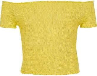 River Island Girls yellow shirred bardot top