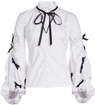 Caroline Constas Printed Shirt with Ribbon