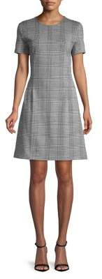 Lord & Taylor Short Sleeve Ponte Plaid Fit-&-Flare Dress