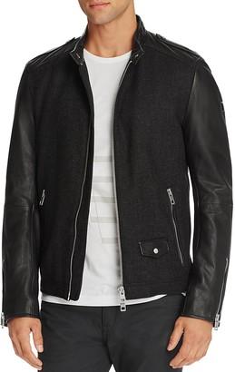 BOSS Orange Jam Mixed Media Leather Biker Jacket $745 thestylecure.com