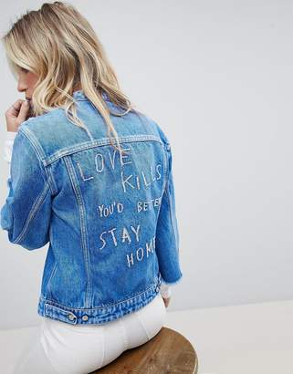 744716fdf0 Replay Collarless Denim Jacket with Raw Hem Sleeve and Embroidery